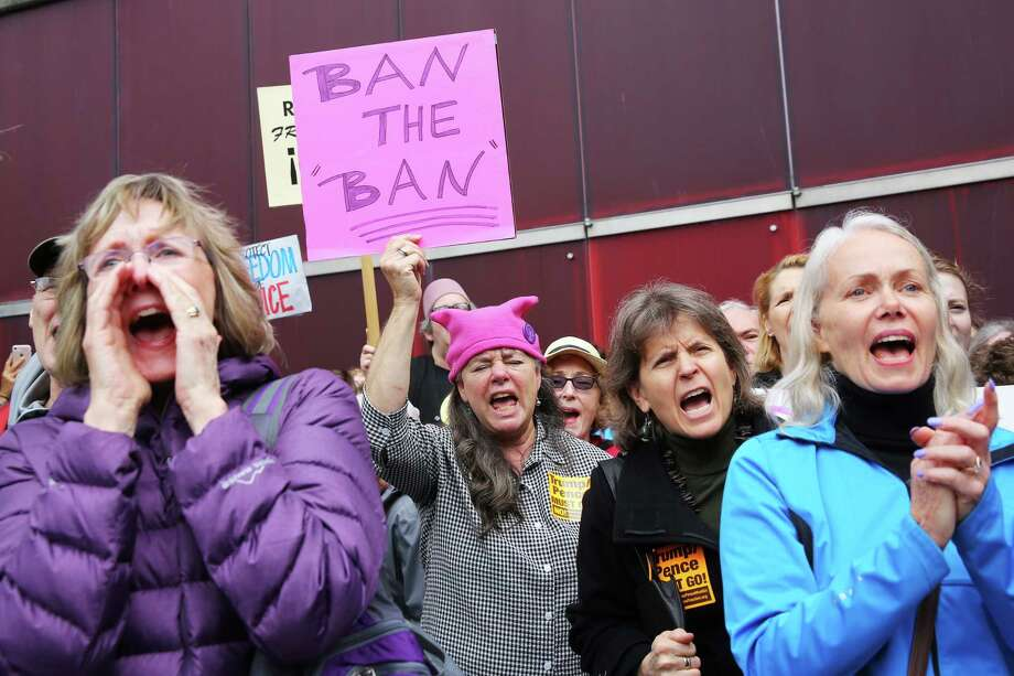 Several hundred people gathered outside of City Hall, Tuesday, as part of a national day of action protesting the strict abortion laws that have been making their way through the legislatures of various states, May 20, 2019. Speakers at the event, organized by NARAL Pro-Choice Washington, included Seattle city council members Lorena Gonzalez, Teresa Mosqueda and Kshama Sawant, Mayor Jenny Durkan and state Attorney General Bob Ferguson. Photo: Genna Martin, SEATTLEPI / GENNA MARTIN