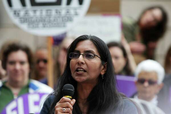 Seattle city councilmember Kshama Sawant speaks to everal hundred people gathered outside of City Hall, Tuesday, as part of a national day of action protesting the strict abortion laws that have been making their way through the legislatures of various states, May 20, 2019. Speakers at the event, organized by NARAL Pro-Choice Washington, also included Seattle city council members Lorena Gonzalez and Teresa Mosqueda, Mayor Jenny Durkan and state Attorney General Bob Ferguson.