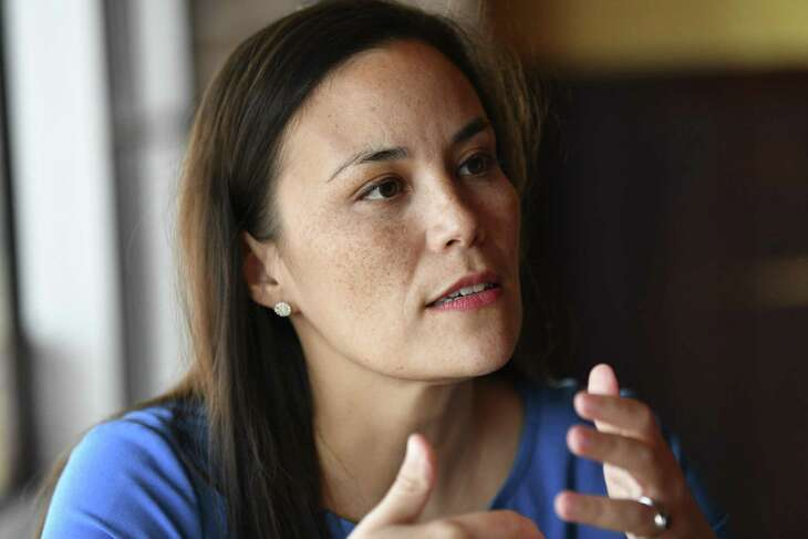 Gina Ortiz Jones, who was narrowly defeated in 2018 by incumbent Will Hurd in the U.S. Representative Texas 23rd Congressional District race, speaks at El Rodeo de Jalisco Mexican Restaurant on Saturday, May 11, 2019.
