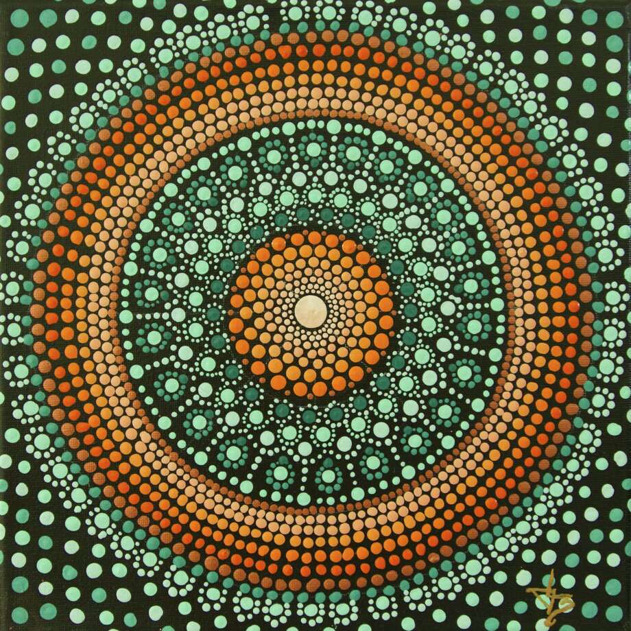 """Above, """"Orange Wheel on Teal,"""" acrylic with high gloss varnish on gallery wrapped canvas, by Deborah Churchill. Photo: Contributed Photo /"""