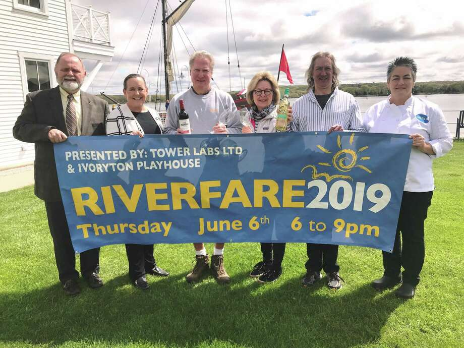 Connecticut River Museum Development Director Phyllis Stillman and sponsor Bruce Lawrence of Bogaert Construction Company are joined by committee members and participating food vendors to celebrate the upcoming RiverFare 2019. From left are Kevin Dodd President of Essex Steam Train & Riverboat, Phyllis Stillman, Bruce Lawrence, Joanne Deschler, Art LiPuma of Seaside Wine & Spirits and Terri Conderino of Café Flo, Gourmet. Photo: Contributed Photo