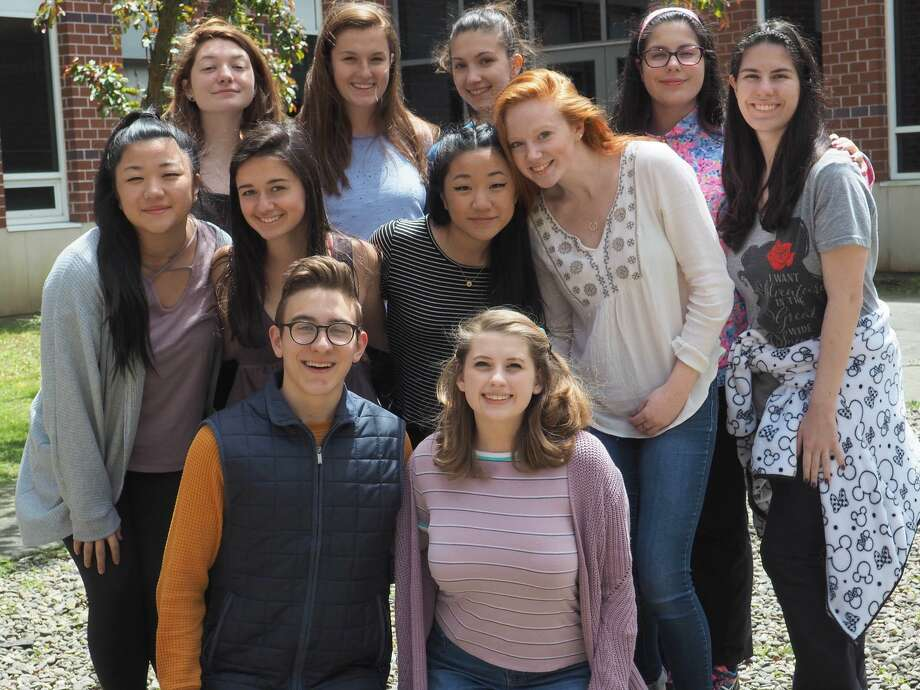 Participating in the New Milford High School Senior Art Show May 24-26 will be, from left to right, in front, Liam Lacey and Madison Bielmeier; second row, Alyssa Parsons, Michaela Zegarelli, Caroline Parsons, Mya Barrett and Christina Onorato; and in back, Makayla Pariseau, Emma Street, Karolina Zimney and Chloe Onorato. Photo: Courtesy Of New Milford High School / The News-Times Contributed