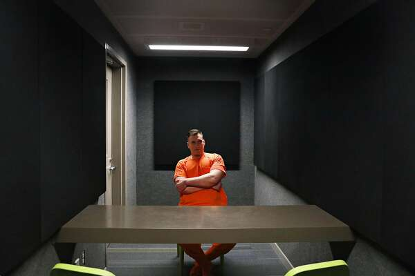 Jeff Choate sits for a portrait in an interview room at the Maple Street Correctional Center on Friday, February 8, 2019 in Redwood City, Calif.