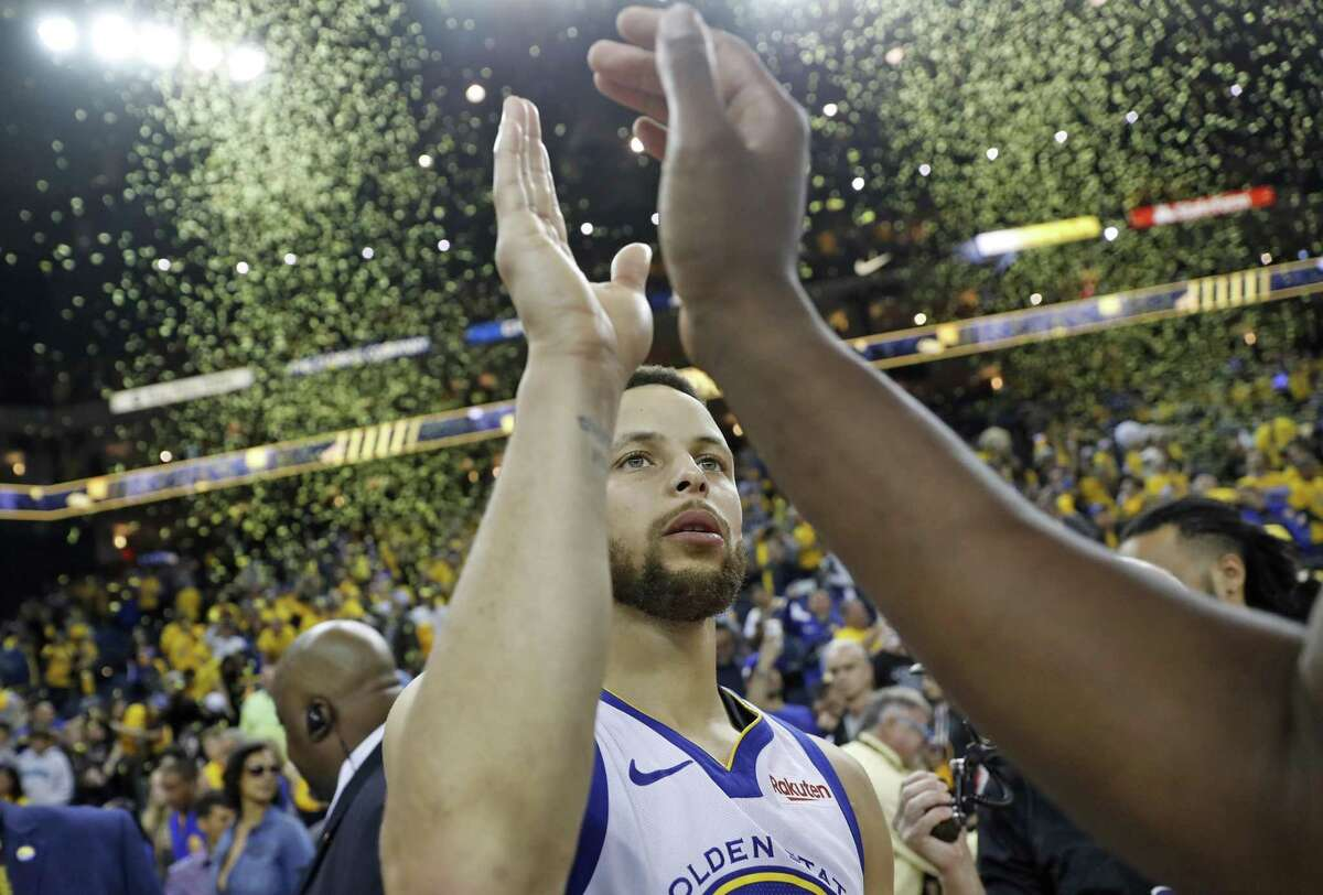 Golden State Warriors' Stephen Curry after Warriors' 116-94 win over Portland Trail Blazers in Game 1 of NBA Western Conference Finals at Oracle Arena in Oakland, Calif., on Tuesday, May 14, 2019.