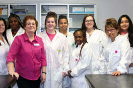 Southwestern Illinois College Medical Laboratory Technology Adjunct Instructor Barb Andersen of Belleville was named Part-time Faculty Member of the Year for 2019 by the college Board of Trustees. Andersen poses with her students from her Medical Assistant Class 170. Pictured are, left to right, Rina Hammer of Highland, Janelle Riggins-Mallet of Belleville, Andersen, Kylie Beinhart of Belleville, Alysa Walker of Sparta, Shirley Johnson of Belleville, Brandi Frauenfelder of Fairview Heights, Gloria Hubbs of Millstadt and Denise Angeles of Sparta.