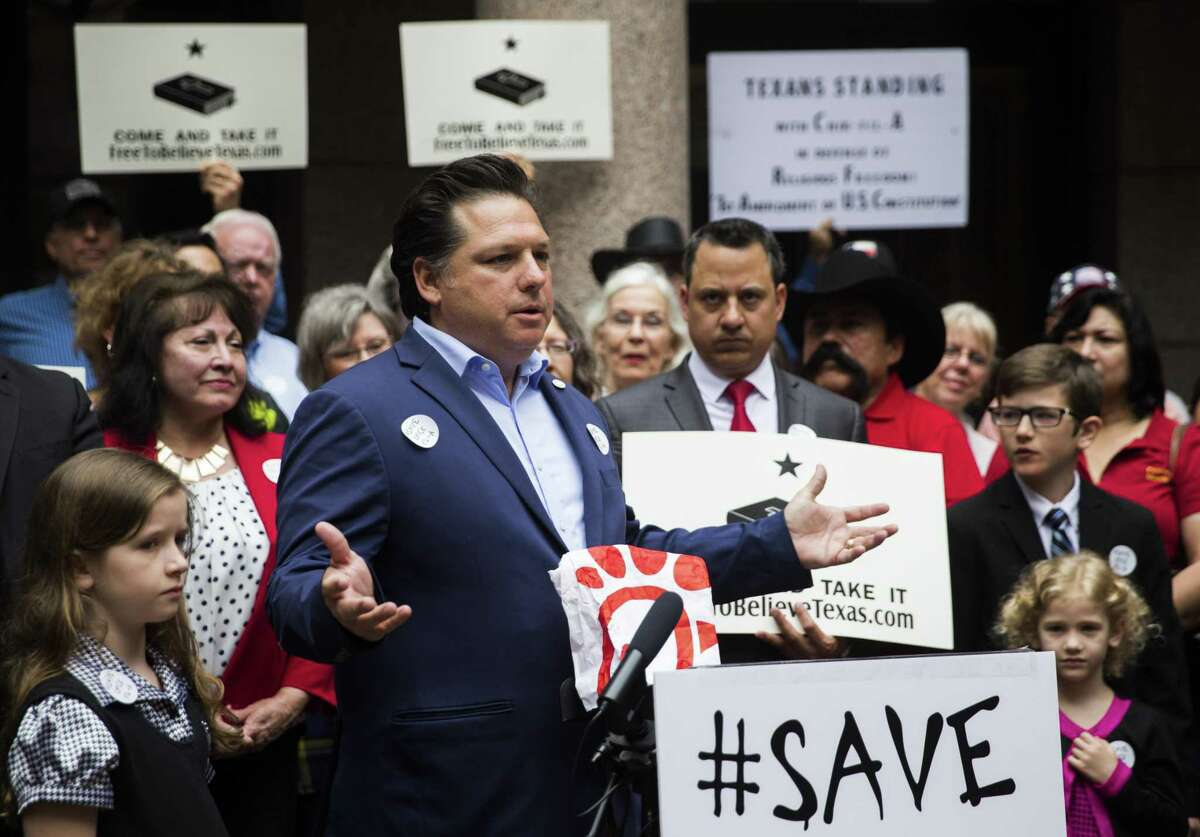 """Texas conservative Weston Martinez of San Antonio speaks during a press conference as part of """"Save Chick-Fil-A Day"""" at the Texas state capital extension on Wednesday, April 17, 2019 in Austin. (Ashley Landis/The Dallas Morning News)"""