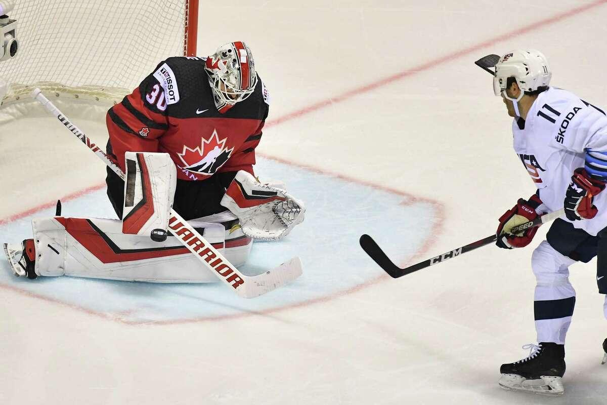 Canada's goalkeeper Matt Murray makes a save against US' forward Luke Kunin during the IIHF Men's Ice Hockey World Championships Group A match between Canada and USA on May 21, 2019 in Kosice, Slovakia. (Photo by JOE KLAMAR / AFP)JOE KLAMAR/AFP/Getty Images