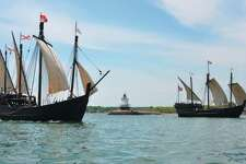 The Nina and Pinta rest on the Mississippi River in Grafton during a previous year the replica ships visited.