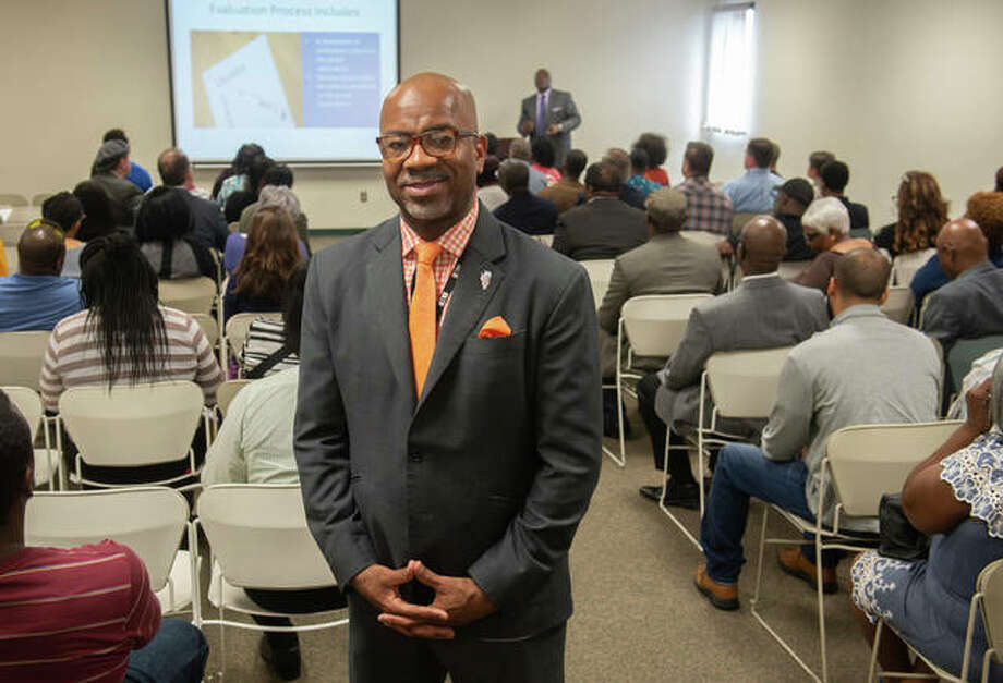 Derrick Champion, deputy director of the Illinois Department of Commerce and Economic Opportunity's Office of Minority Economic Empowerment, presided over an informational meeting about state funding for minority-owned businesses. Photo: For The Telegraph