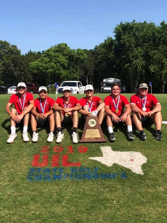 The Garden City boys golf team poses after winning its second straight Class 1A Boys Golf championship at Austin's Lions Municipal Golf Course on Tuesday. Courtesy photo. Photo: Courtesy Photo