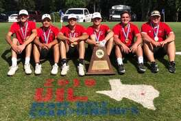The Garden City boys golf team poses after winning its second straight Class 1A Boys Golf championship at Austin's Lions Municipal Golf Course on Tuesday. Courtesy photo.