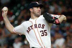 Houston Astros starting pitcher Justin Verlander (35) pitches against the Chicago White Sox during the fourth inning of a major league baseball game at Minute Maid Park on Tuesday, May 21, 2019, in Houston.