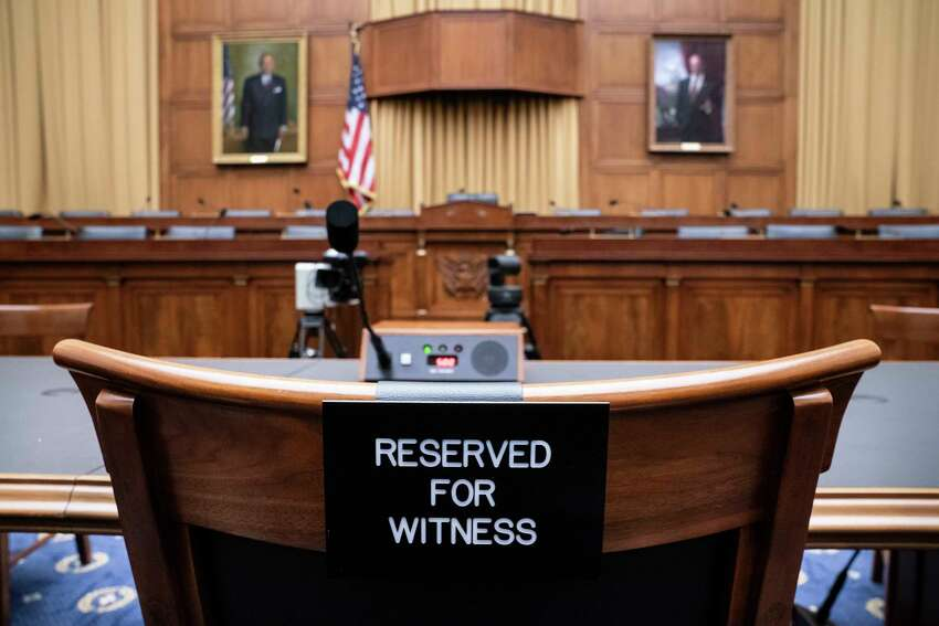 The witness chair in the House Judiciary Committee is expected to be without former White House Counsel Don McGahn, who was a key figure in special counsel Robert Mueller's investigation, on Capitol Hill in Washington, Tuesday, May 21, 2019. President Donald Trump directed McGahn to defy a congressional subpoena to testify but the committee's chairman, Rep. Jerrold Nadler, D-N.Y., has threatened to hold McGahn in contempt of Congress if he doesn't appear. (AP Photo/J. Scott Applewhite)