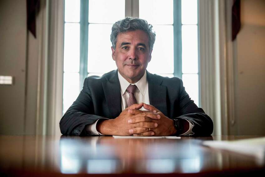 Solicitor General Noel Francisco poses for a photograph at the Department of Justice in Washington, Tuesday, May 21, 2019.(AP Photo/Andrew Harnik)