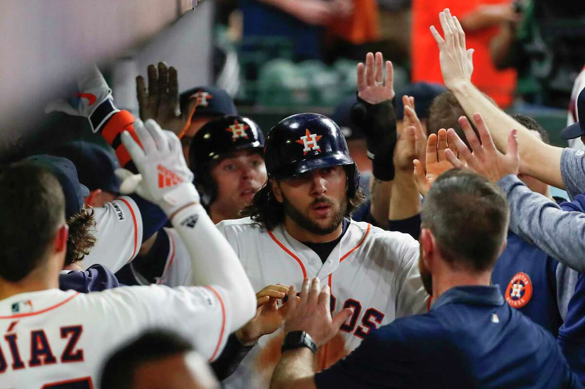 PHOTOS: Houston Astros 2019 fan giveaways Houston Astros outfielder Jake Marisnick high fives his teammates in the dugout after scoring on the Chicago White Sox on a 2-run double by Michael Brantley during the fifth inning of a major league baseball game at Minute Maid Park on Tuesday, May 21, 2019, in Houston. >>>See the remaining Astros fan giveaways at Minute Maid Park this season ...