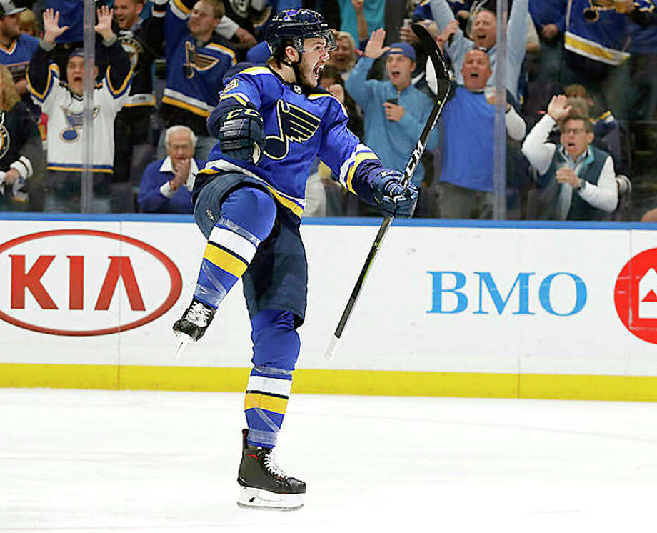 The Blues' Sammy Blais celebrates after the Blues scored against the San Jose Sharks in the first period of Game 6 of the Western Conference Final Tuesday in St. Louis. Photo: Jeff Roberson | AP Photo