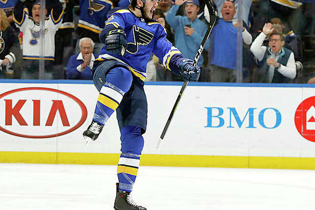 The Blues' Sammy Blais celebrates after the Blues scored against the San Jose Sharks in the first period of Game 6 of the Western Conference Final Tuesday in St. Louis.