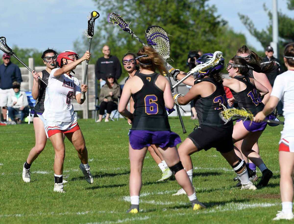 Niskayuna's Sydney Gushlaw (8) scores against Ballston Spa during a Section II Class B semifinal girls' lacrosse game Tuesday May 21, 2019, in Niskayuna, N.Y. (Hans Pennink / Special to the Times Union)
