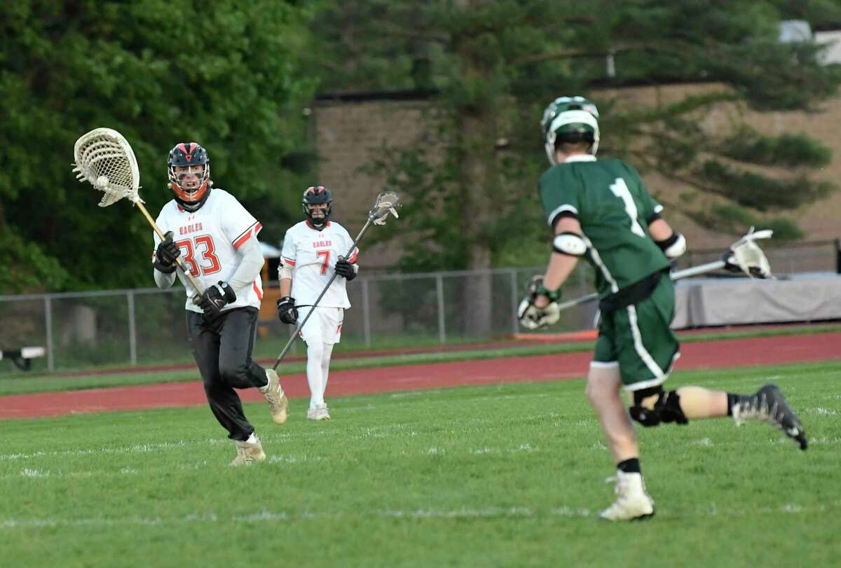 Bethlehem's goal keeper Matt Stento (33) moves the ball past midfield against Shenendehowa's during a Section II Class A semifinal boys' lacrosse game Tuesday May 21, 2019, in Delmar, N.Y. (Hans Pennink / Special to the Times Union)