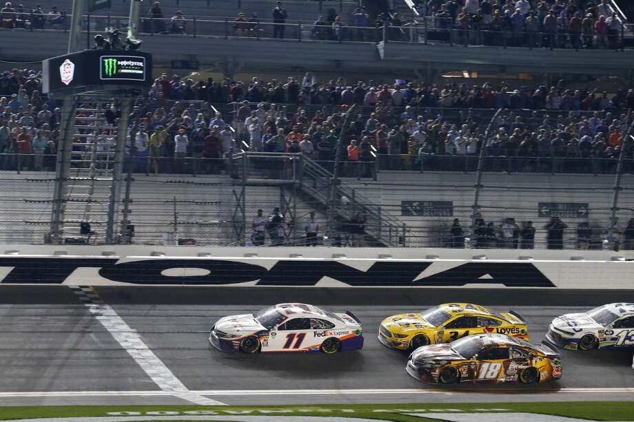DAYTONA, FL - FEBRUARY 17: Denny Hamlin, driver of the #11 Joe Gibbs Racing FedEx Express Toyota Camry, leads during the Daytona 500 on February 17, 2019 at Daytona International Speedway in Daytona Beach, Fl. (Photo by David Rosenblum/Icon Sportswire via Getty Images) Photo: Icon Sportswire/Icon Sportswire Via Getty Images