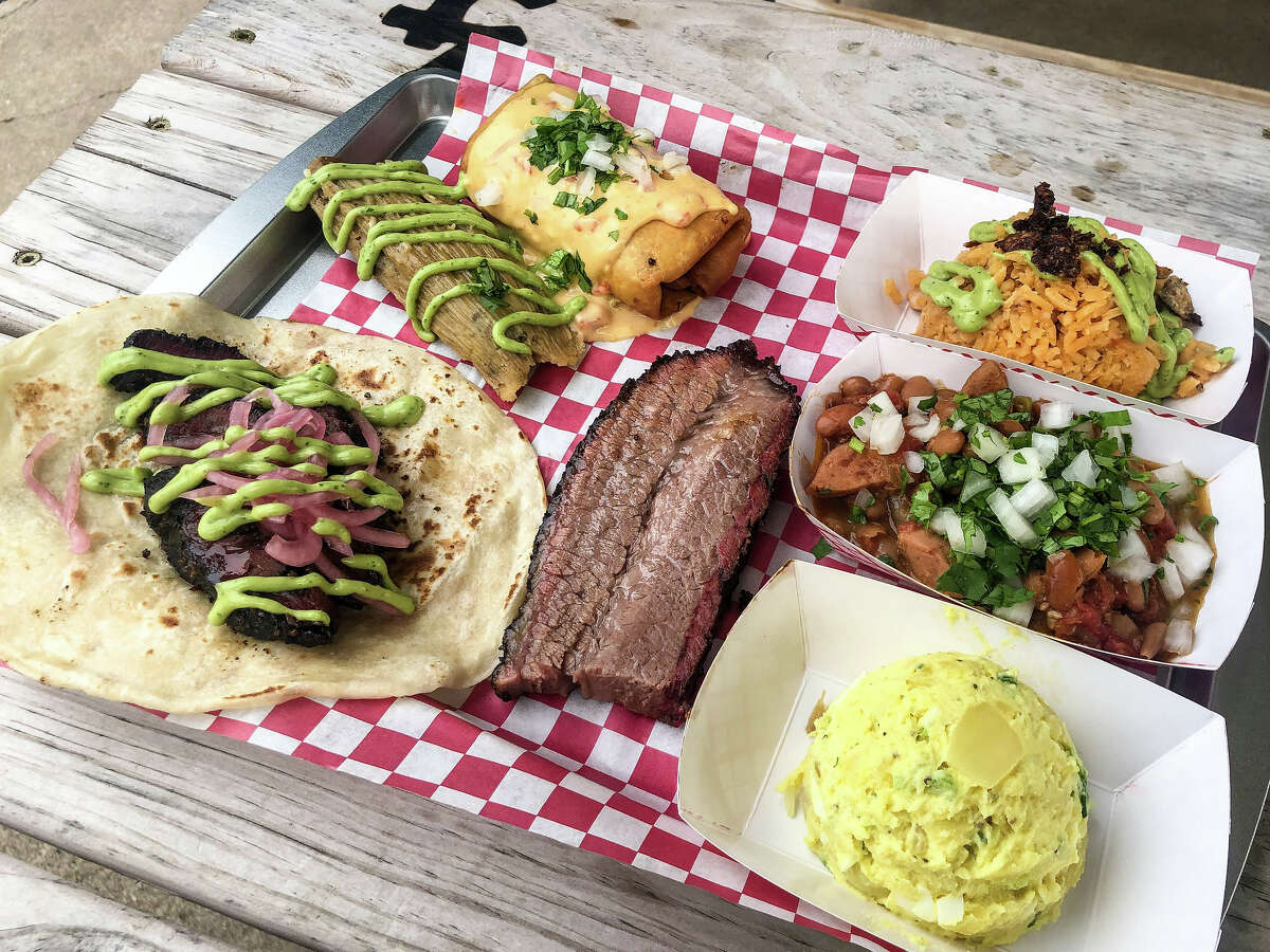 The Houston Barbecue Festival has announced its first Tex-Mex BBQ Block Party, to be held July 14 at Saint Arnold Brewing Co. The festival will celebrate Tejano and Tex-Mex influence on craft barbecue. Shown: An assortment of Tex-Mex barbecue from JQ's Tex Mex BBQ.