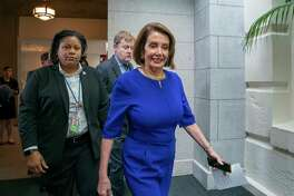 Speaker of the House Nancy Pelosi, D-Calif., arrives to meet with all the House Democrats, many calling for impeachment proceedings against President Donald Trump after his latest defiance of Congress by blocking his former White House lawyer from testifying yesterday, at the Capitol in Washington, Wednesday, May 22, 2019.