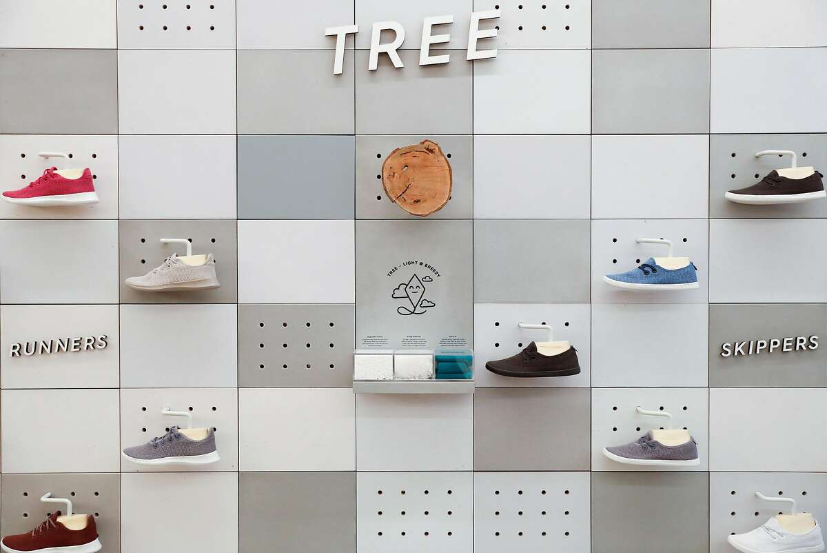 A display of Allbirds Tree Runners and Skippers is seen on Tuesday, May 21, 2019 in San Francisco, Calif., at their Hotaling Place store. The shoe company is planning to open a larger store in Hayes Valley later this year.