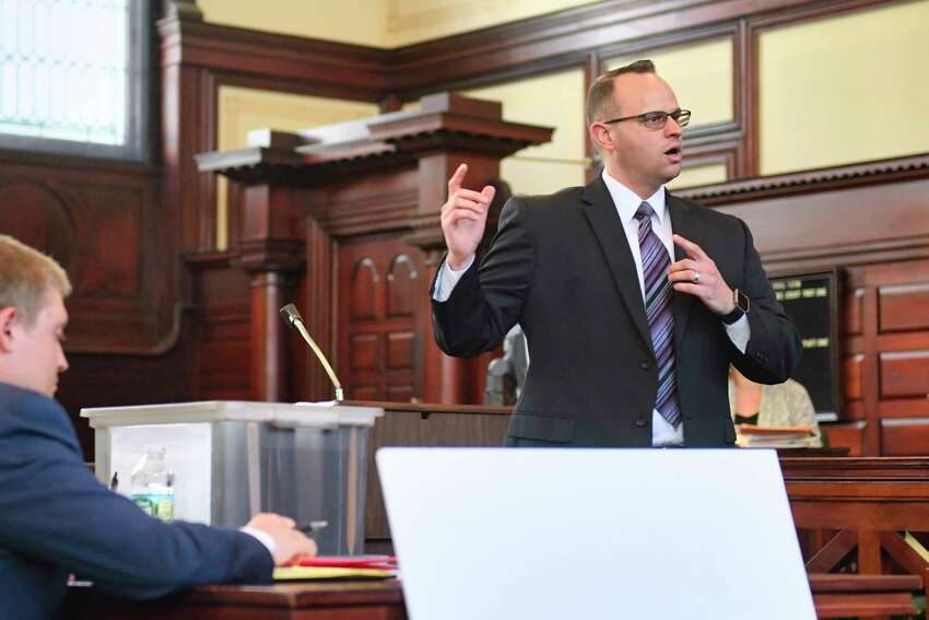 Rensselaer County Assistant D.A. Andrew Botts delivers his opening statement in the Luis Alfredo Monge Guevara murder trial at Rensselaer County Court on Wednesday, May 22, 2019, in Troy, N.Y. (Paul Buckowski/Times Union)