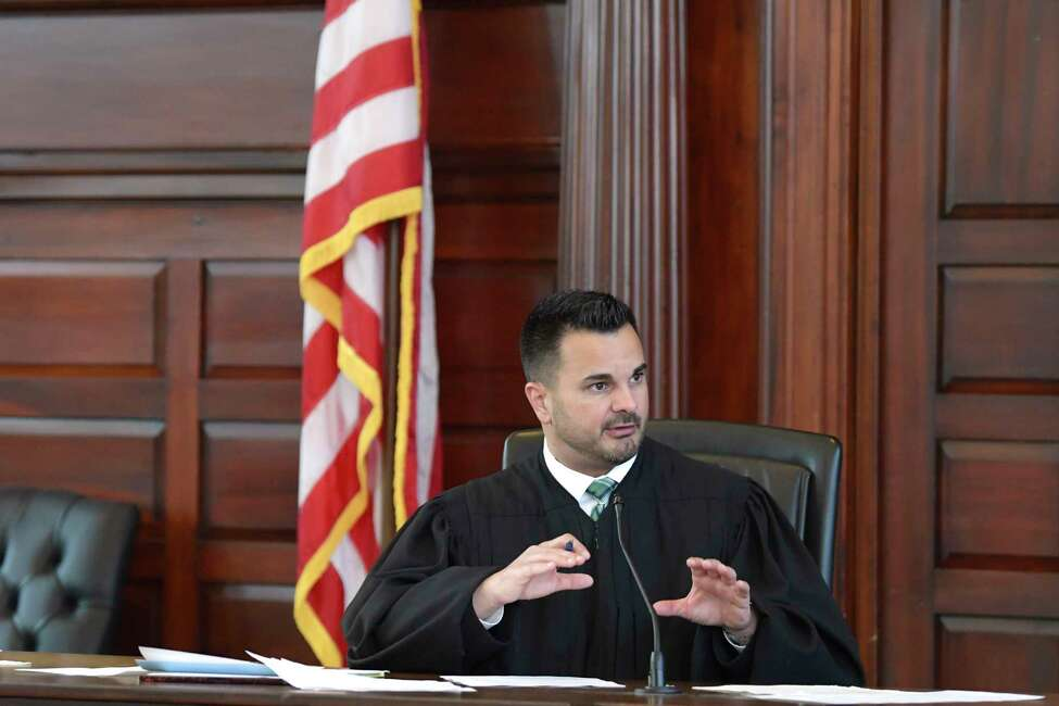 New York State Supreme Court Judge Andrew Ceresia addresses the members of the jury during the start of the murder trial of Luis Alfredo Monge Guevara at Rensselaer County Court on Wednesday, May 22, 2019, in Troy, N.Y. (Paul Buckowski/Times Union)