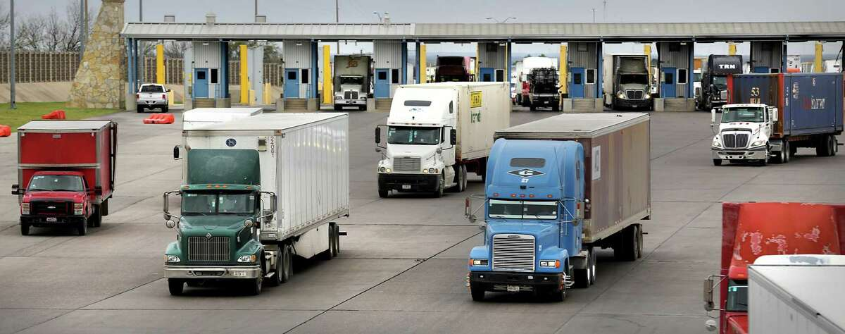 Trucking traffic is shown entering the U.S. at the World Trade Bridge in Laredo on Friday, Jan. 27, 2017.