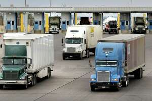 Trucks enter the United States at the World Trade Bridge in Laredo during 2017. Laredo has surpassed Los Angeles to become the No. 1 port in the U.S. for the first time.