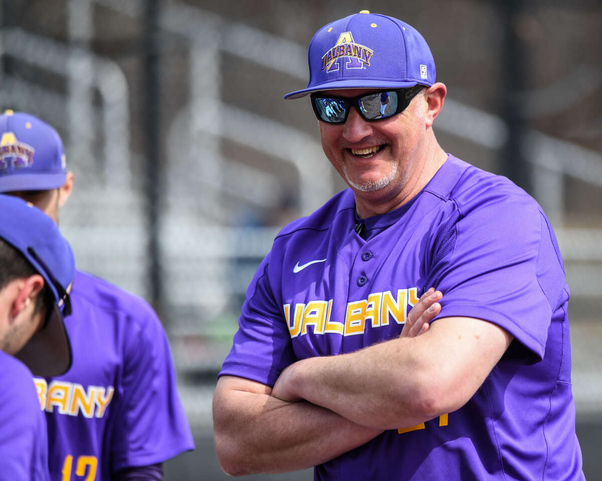 UAlbany's Jon Mueller of Stillwater lamented Friday about Hank Aaron joining the list of baseball greats who have died over the past two years. (Bill Ziskin/UAlbany athletics)