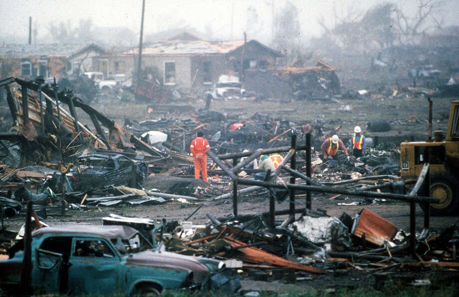 The morning after the Saragosa tornado, May 23, 1987. Photo: Kent Porter, Former Midland Reporter-Telegram Photographer