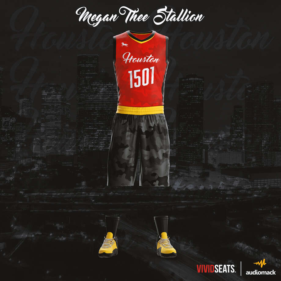 Vivid Seats and Audiomack have teamed up to merge hip-hop and hoops with a collection of basketball jersey designs inspired by rappers representing their hometowns, including Megan Thee Stallion, Drake and Travis Scott. Photo: Courtesy