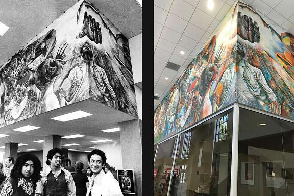 A Mission District mural in the Bank of America branch at Mission and 23rd streets. Photos taken in 1974 and 2019 by Stephanie Maze and Peter Hartlaub.