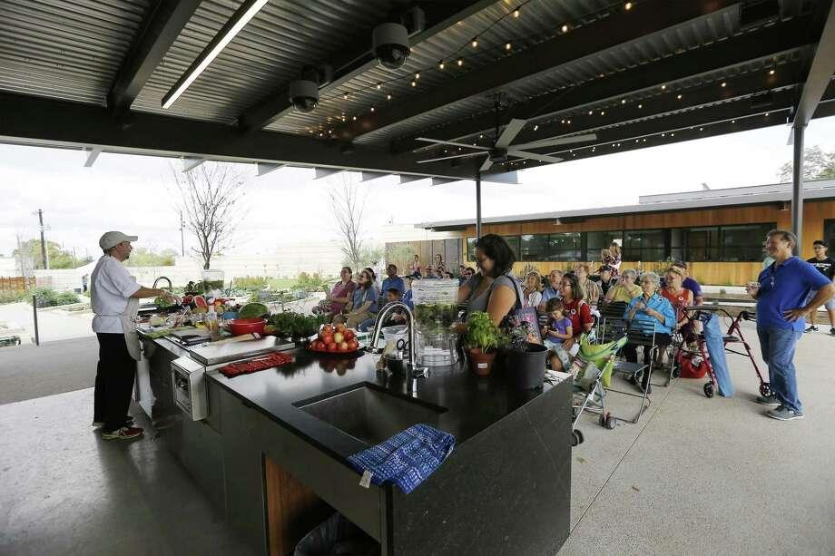 "Chef Dave Terrazas teaches a class on how to make ""fruit ceviche"" under the Goldsbury Pavilion/CHEF Teaching Kitchen as The San Antonio Botanical Garden. Photo: Kin Man Hui /San Antonio Express-News / ©2017 San Antonio Express-News"