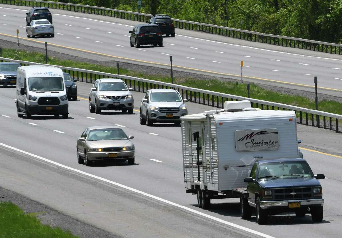 The Northway as seen in Halfmoon. A crash on the highway north of this, in Warren County, killed two people and injured a third person critically on Friday, Sept. 3, 2021. (Will Waldron/Times Union file)