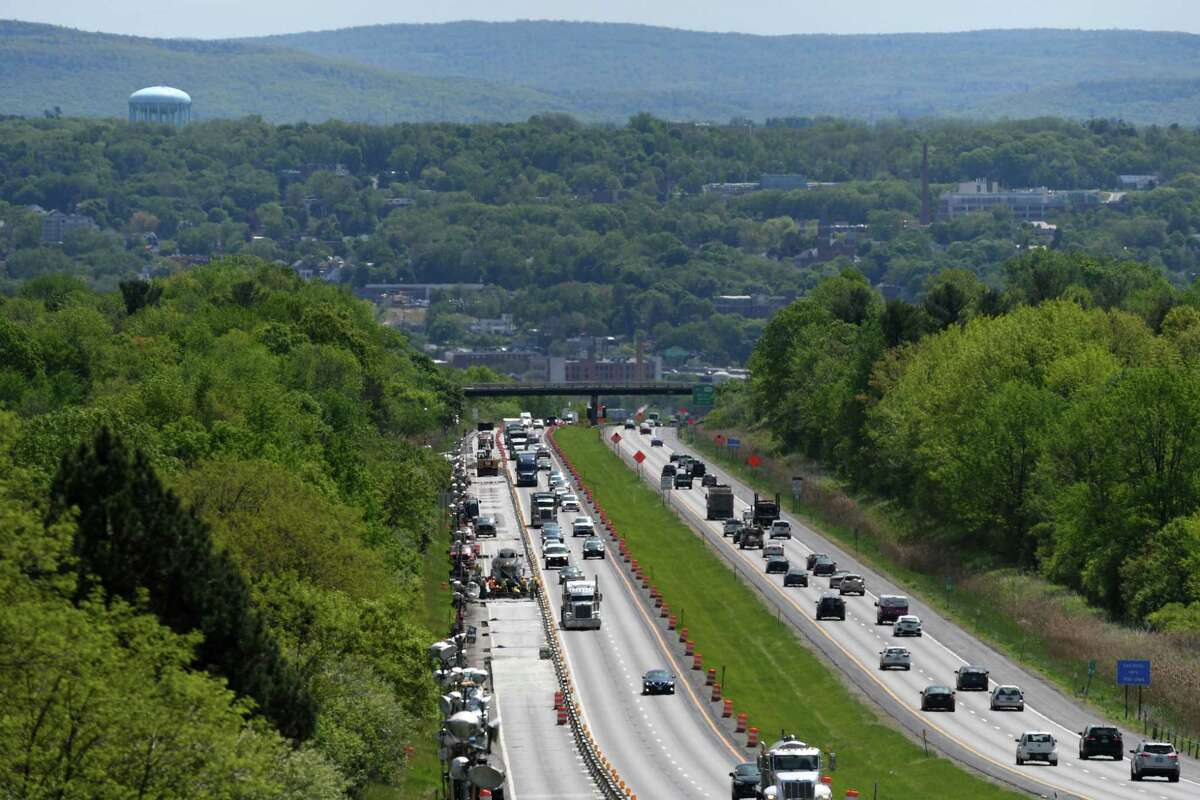 Motorists travel past the construction site on Route 7 between I-787 and the Northway on Wednesday, May 22, 2019, in Colonie, N.Y. (Will Waldron/Times Union)