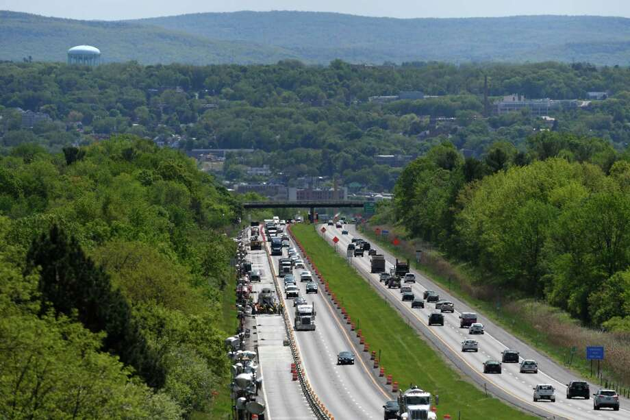 Motorists travel past the construction site on Route 7 between I-787 and the Northway on Wednesday, May 22, 2019, in Colonie, N.Y.  (Will Waldron/Times Union) Photo: Will Waldron, Albany Times Union / 20047016A
