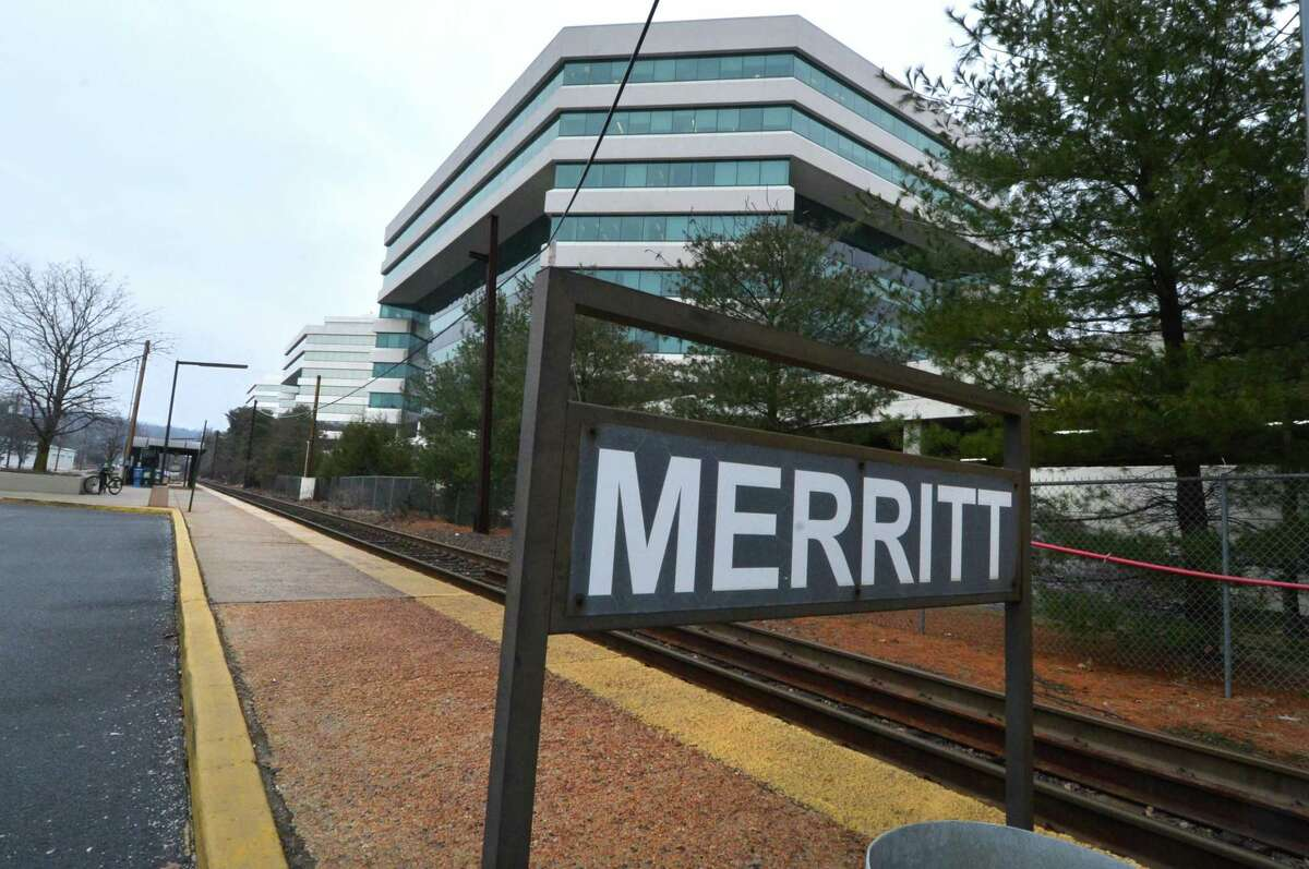 The Merritt 7 Metro-North Danbury Line train station and platform on Glover Avenue in Norwalk.