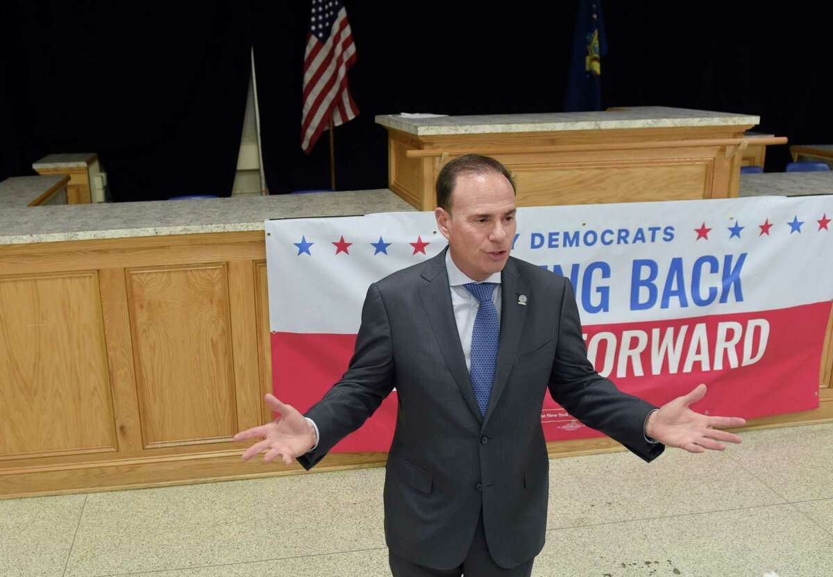 New York State Democratic Committee Chairman Jay Jacobs discusses the 2020 Delegate Selection Plan of the New York State Democratic Committee on Wednesday, May 22, 2019 at the Albany Labor Temple in Albany, NY. (Phoebe Sheehan/Times Union)