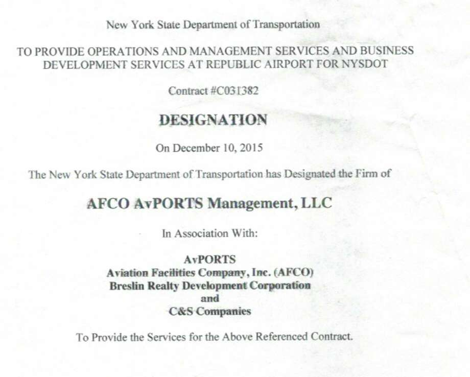 Cover page of Dec. 10, 2015 letter from the state Department of Transportation designating AvPorts and Breslin realty the winners of the bid to operate and develop Republic Airport on Long Island.