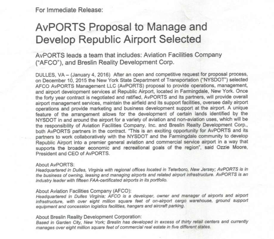 AvPort press release announcing its winning bid in December 2015.