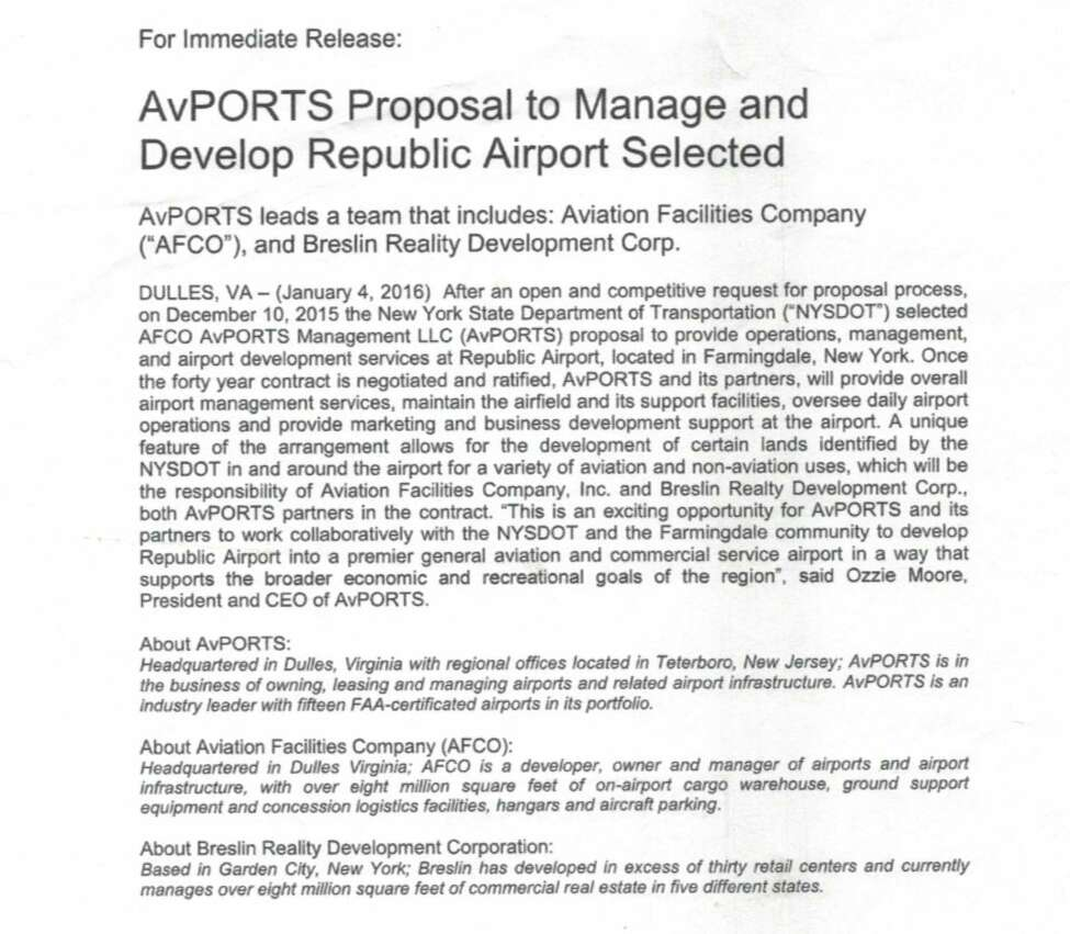 AvPort press release announcing its winning bid in December 2015.