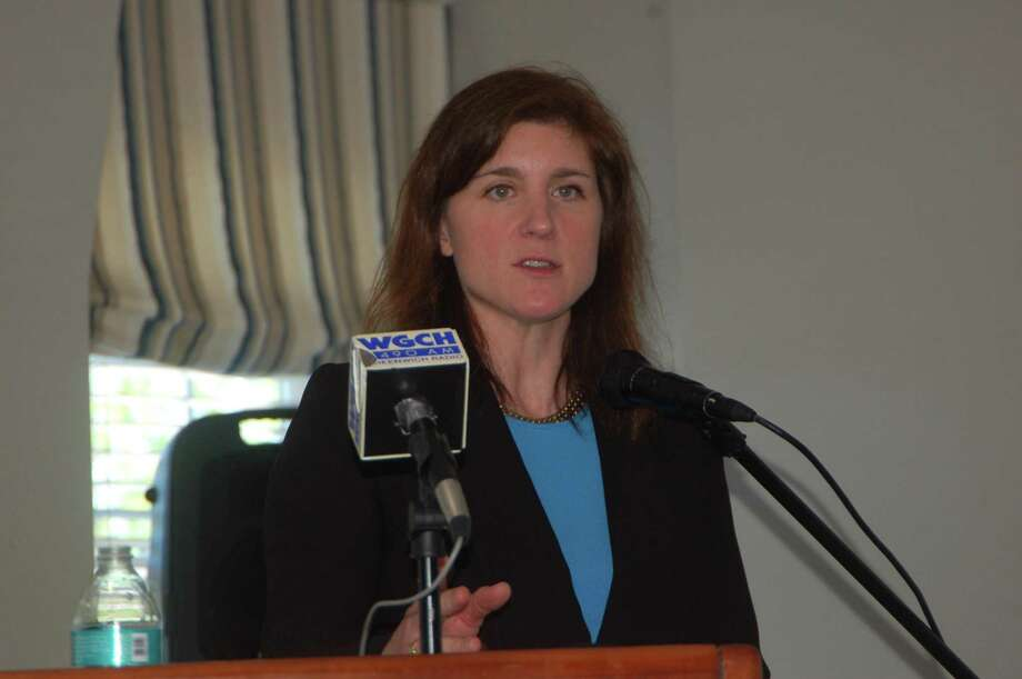 Town Director of Planning and Zoning Katie DeLuca speaks Tuesday May 21 before a Greenwich Chamber of Commerce event to give an update on the development of the 2019 Plan of Conservation and Development. Photo: File / Ken Borsuk / Hearst Connecticut Media /