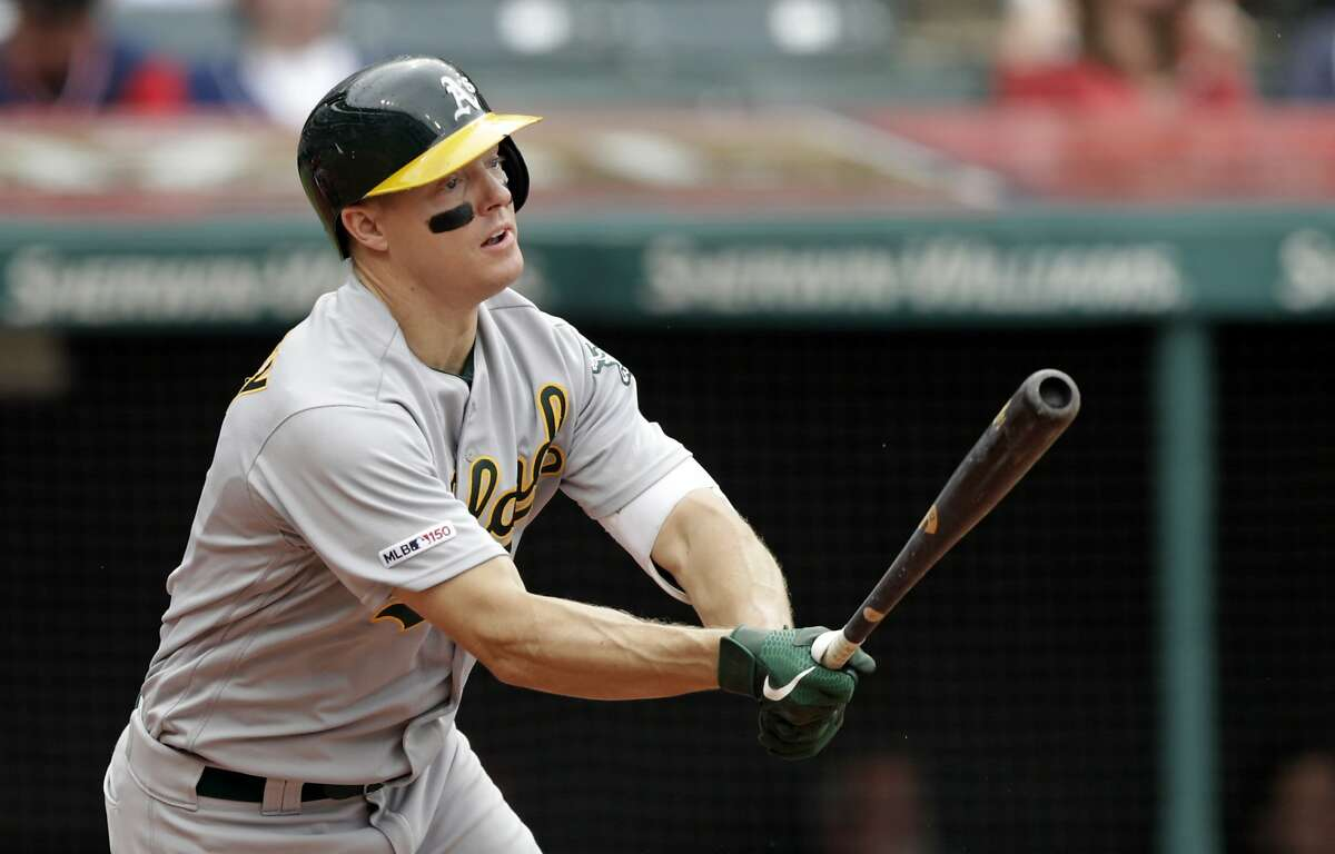 Oakland Athletics' Nick Hundley watches his ball after hitting a one-run double off Cleveland Indians relief pitcher Tyler Clippard in the seventh inning of a baseball game, Wednesday, May 22, 2019, in Cleveland. Ramon Laureano scored on the play. (AP Photo/Tony Dejak)
