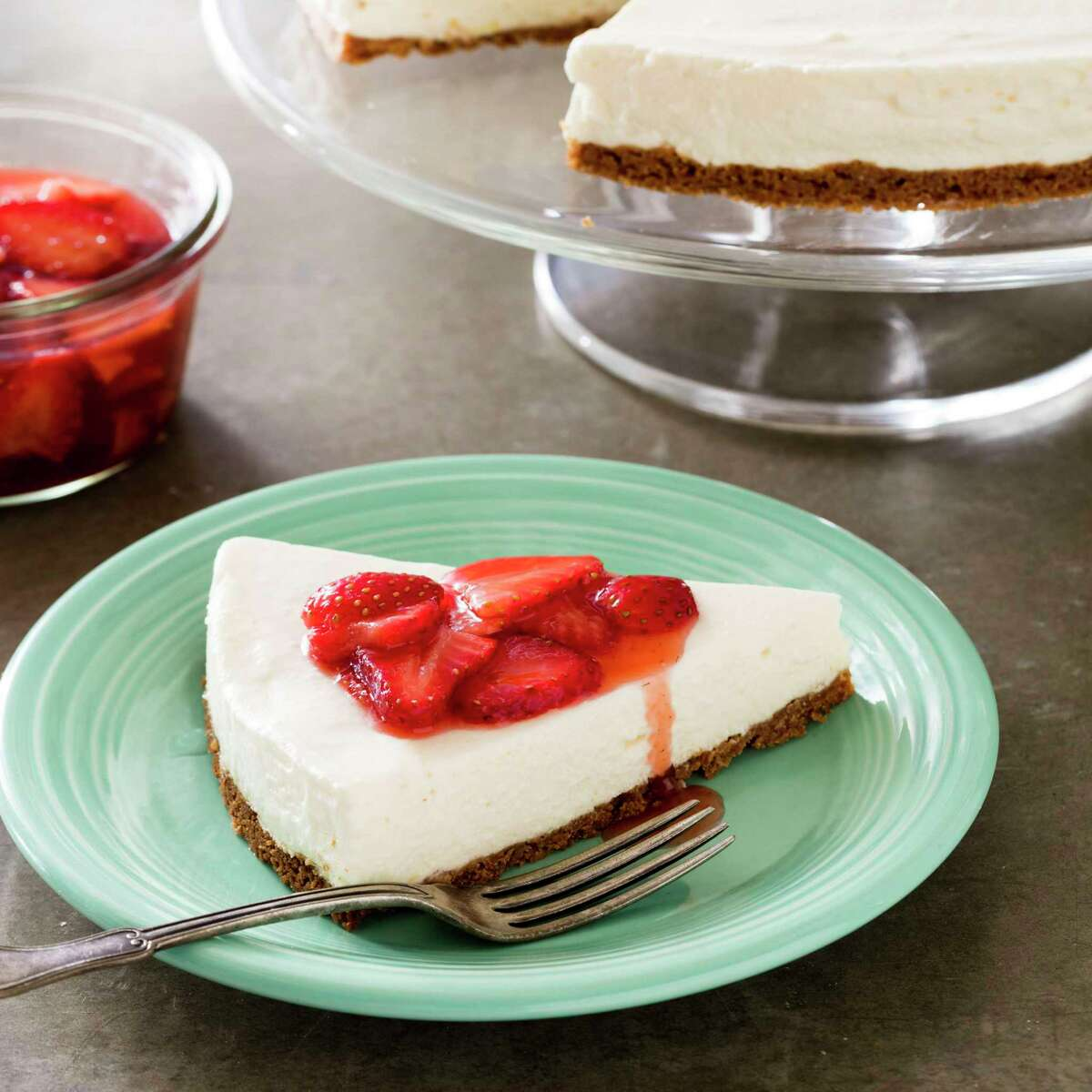 Dairy desserts like cheesecake and blintzes are a popular treats for celebrate the Jewish holiday of Shavuot.This is Icebox Cheesecake in Brookline, Mass. This recipe appears in the cookbook Perfect Cake. (Daniel J. van Ackere/America's Test Kitchen via AP)