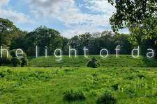 """""""The Light of Day,"""" a solo outdoor art exhibit featuring large-scale abstract paintings by emerging artist Alex Sanzo, will be displayed throughout the landscape of a 14-acre private Greenwich estate June 9."""