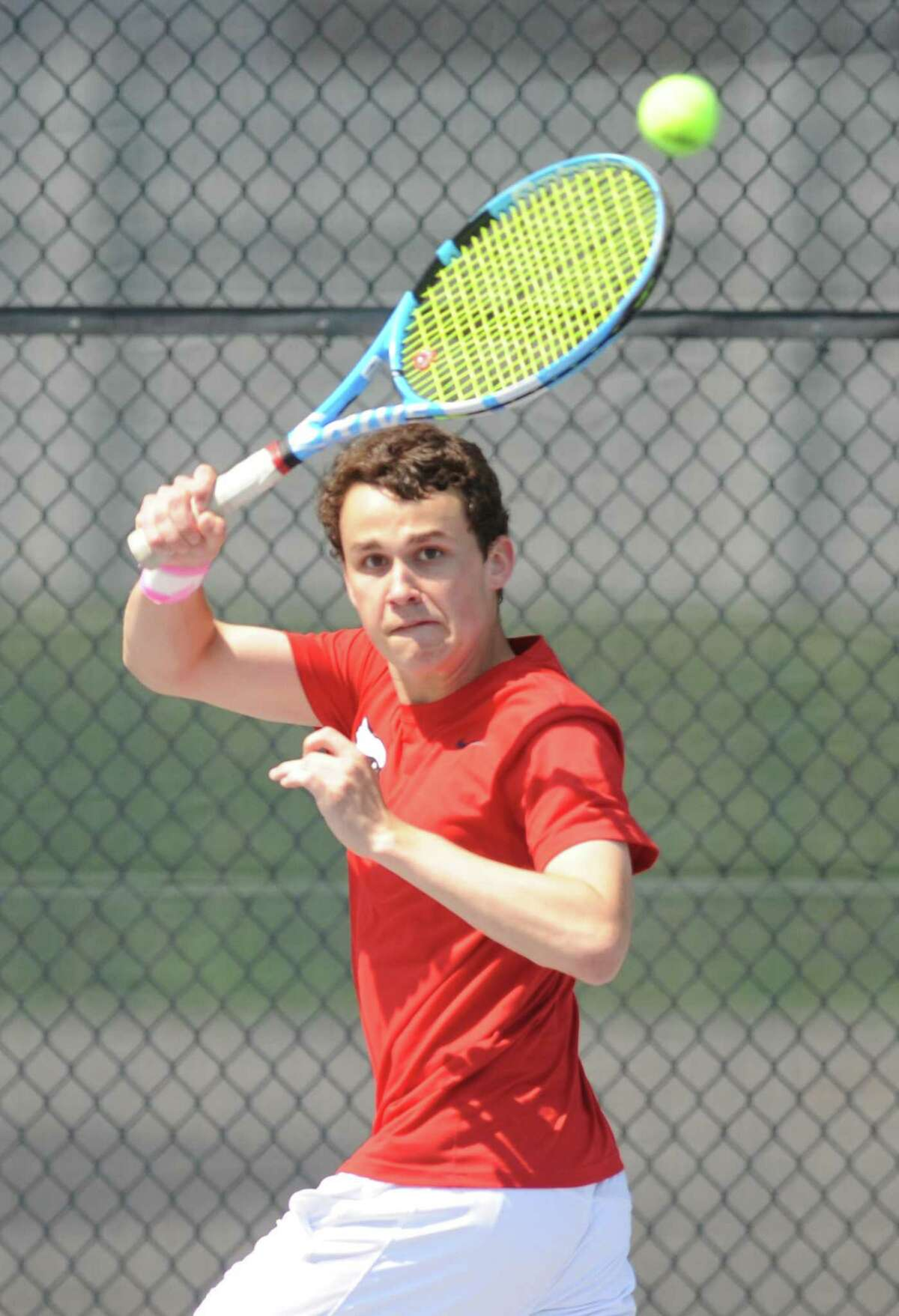 Greenwich's Hayden Witmer competes against Staples in the FCIAC tennis championships on May 23, 2018.