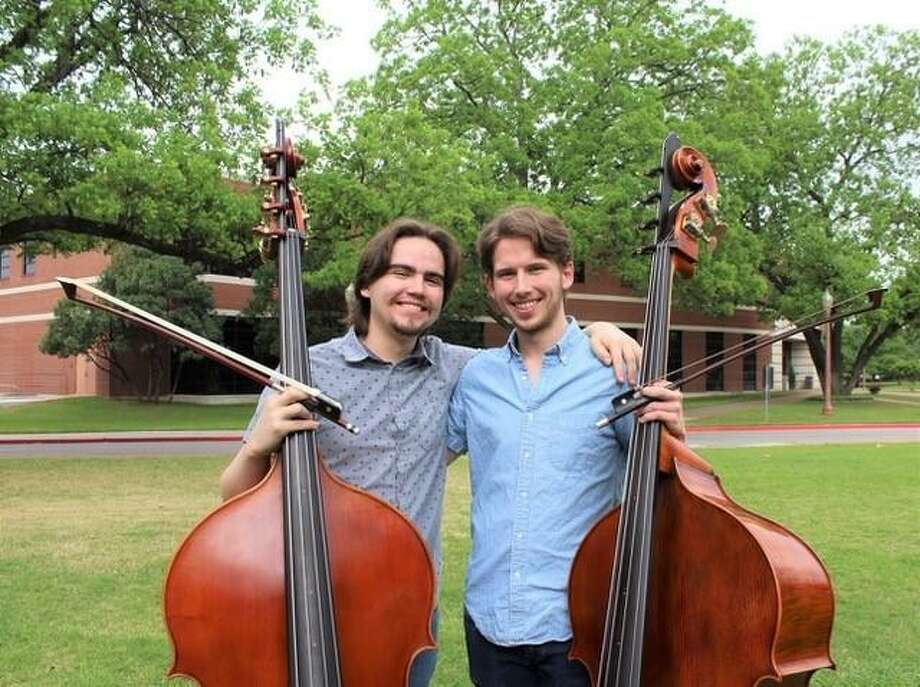 Double Bass Player Jonathan Keith (left) will reconnect with his colleague Ian Donovan (right), a bass player he has known since their high school years in Houston through the Quantum Bass Center. Both musicians attend Baylor University and both were accepted as 2019 Texas Music Festival Fellows. Keith is originally from the Spring Branch/Memorial area. Photo: Photo By Jordyn White.
